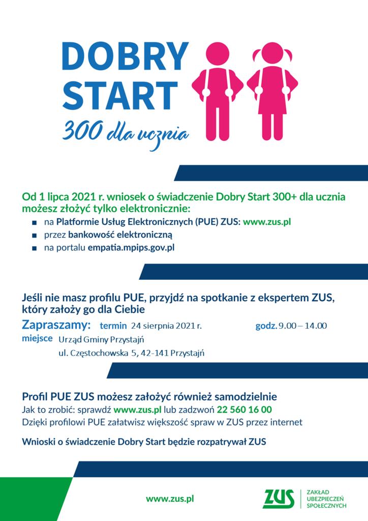 Plakat 300 plus Dobry Start spotkanie PUE UG PRZYSTAJŃ sierpień.png